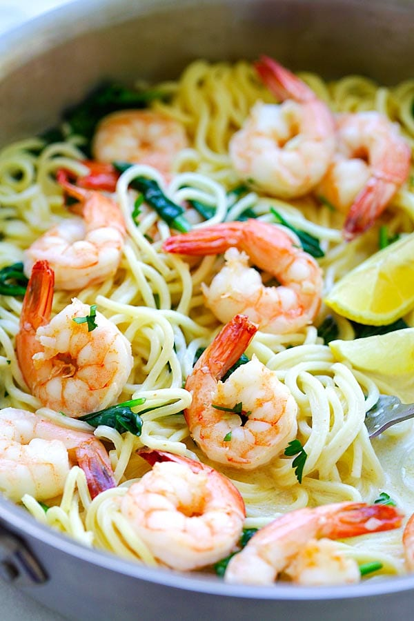 until the shrimp creamy white wine shrimp linguine lets live y all