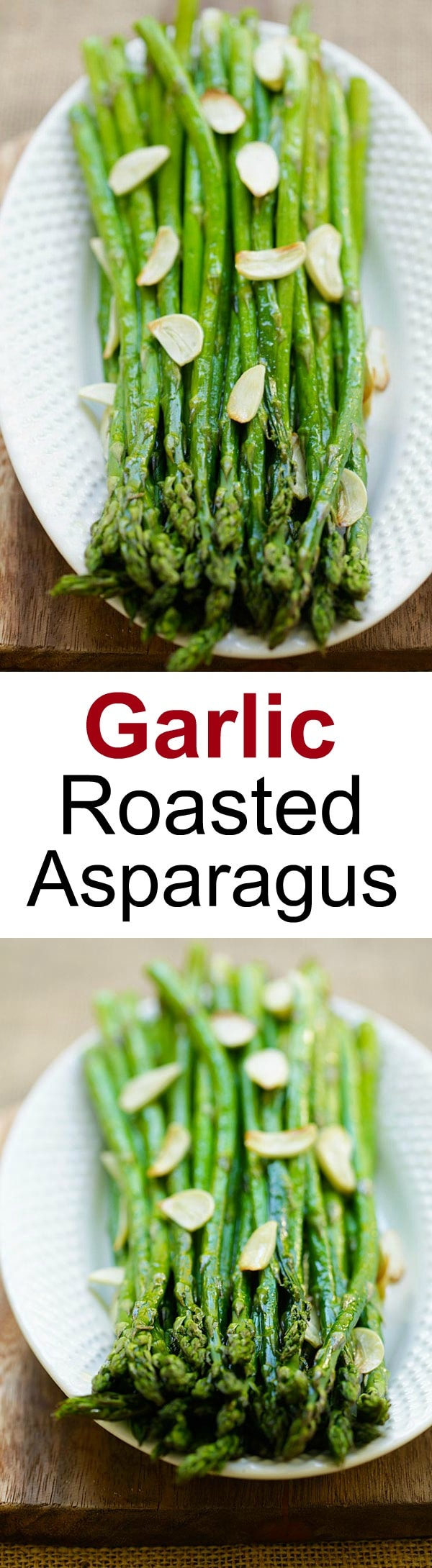 Garlic Roasted Asparagus – healthy oven-baked asparagus with garlic. Four ingredients and takes only 12 mins to make this quick and easy side dish | rasamalaysia.com