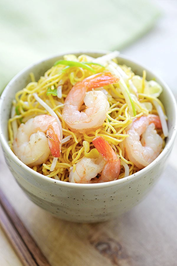 Shrimp Chow Mein Noodles in a bowl.