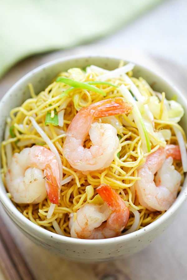 Shrimp Chow Mein is Chinese noodles stir-fried with shrimp, vegetables and scallions.