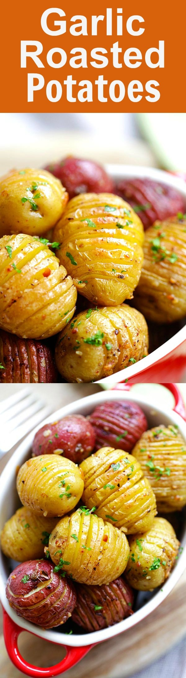 Garlic Roasted Potatoes - quick, easy, the best roasted potatoes with garlic, butter and olive oil. This is one of the best potato recipes in oven | rasamalaysia.com