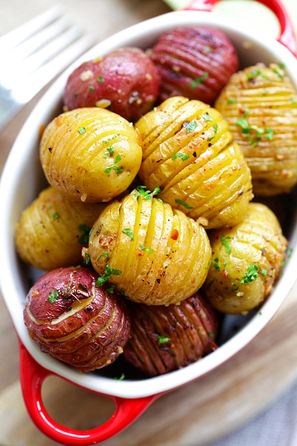 Roasted potatoes recipe with yellow potatoes and red potatoes.