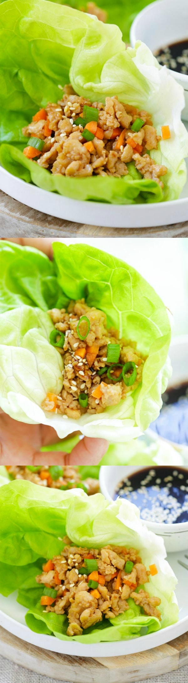 Chicken Lettuce Wraps - quick, easy and the best lettuce wraps recipe with juicy and moist ground chicken wrapped up with fresh and crisp lettuce leaves. Homemade is always better than P. F. Chang's or Chinese takeout | rasamalaysia.com