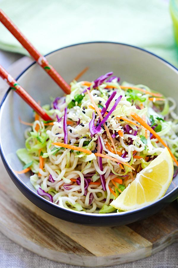 Asian-style coleslaw salad noodles with sesame oil.