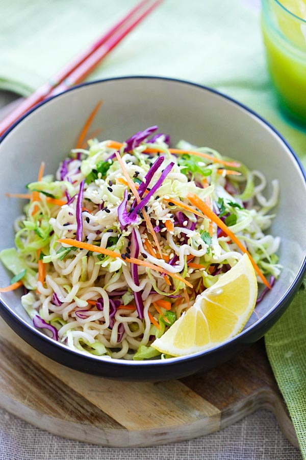 Ramen Noodle Salad - Asian salad made with ramen noodles, cabbage and carrots in a tangy and appetizing dressing. So healthy and delicious | rasamalaysia.com