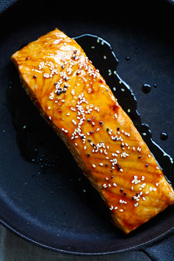 Salmon teriyaki is a Japanese recipe that you can cook on stove top, in a skillet.