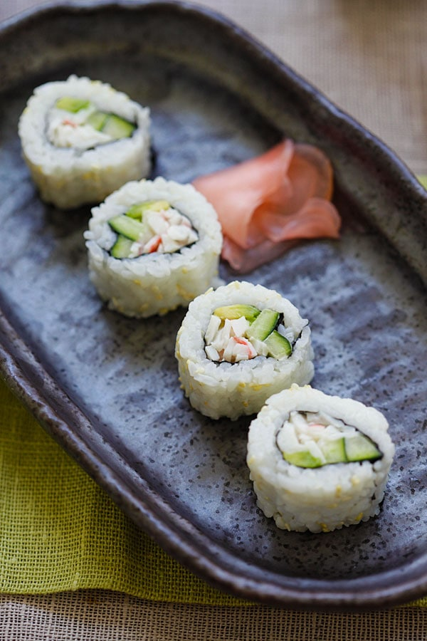 California Roll - easy homemade California roll. Learn how to make this popular sushi with the step-by-step picture guide and recipe | rasamalaysia.com