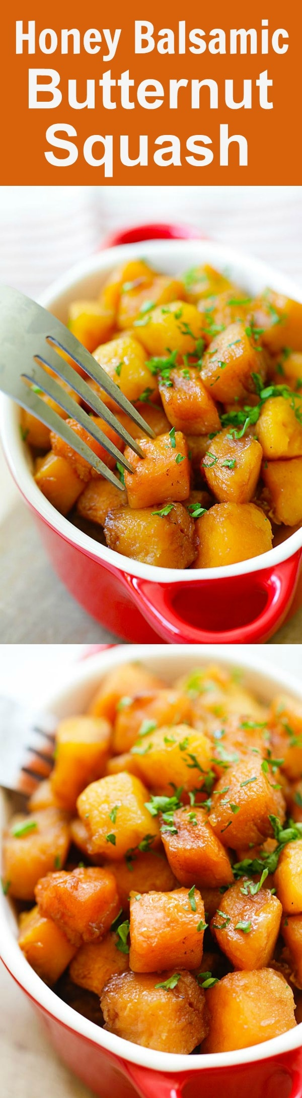 Honey Balsamic Butternut Squash - roasted butternut squash with honey balsamic. A perfect side dish recipe that takes only 20 mins. | rasamalaysia.com