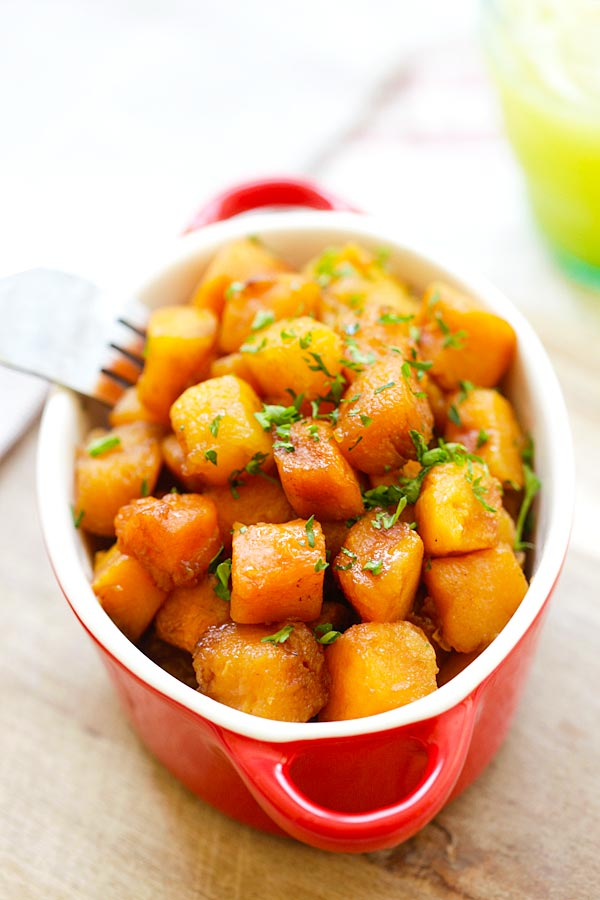 Honey Balsamic Butternut Squash - roasted butternut squash with honey balsamic. A perfect side dish recipe that takes only 20 mins | rasamalaysia.com
