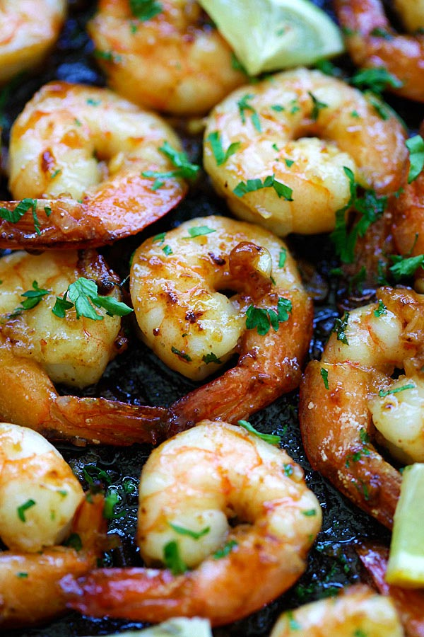 Close up of easy delicious skillet shrimp with honey garlic glaze.