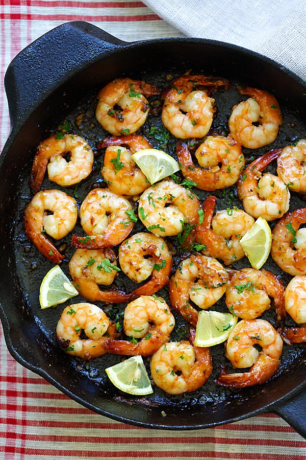 Top down view of easy Honey Garlic Shrimp in skillet.