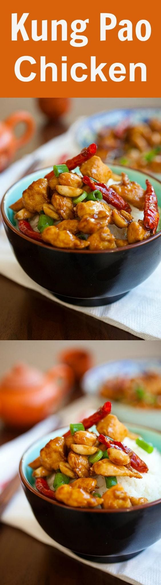 Kung Pao Chicken - Chinese takeout classic loaded with spicy chicken, peanuts, vegetables in a mouthwatering Kung Pao sauce. This easy homemade recipe is healthy, low in calories and much better than takeout | rasamalaysia.com