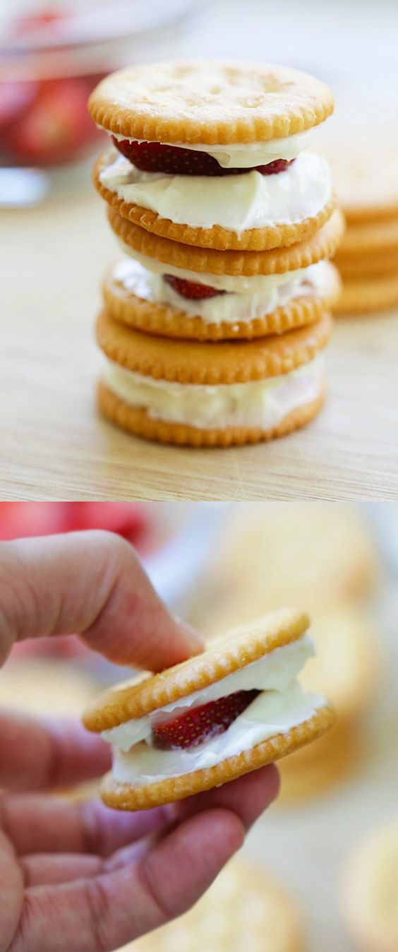 Strawberry Cheesecake RITZwich - no-bake strawberry cheesecake sandwich using RITZ crackers. Quick and simple snack anytime of the day | rasamalaysia.com