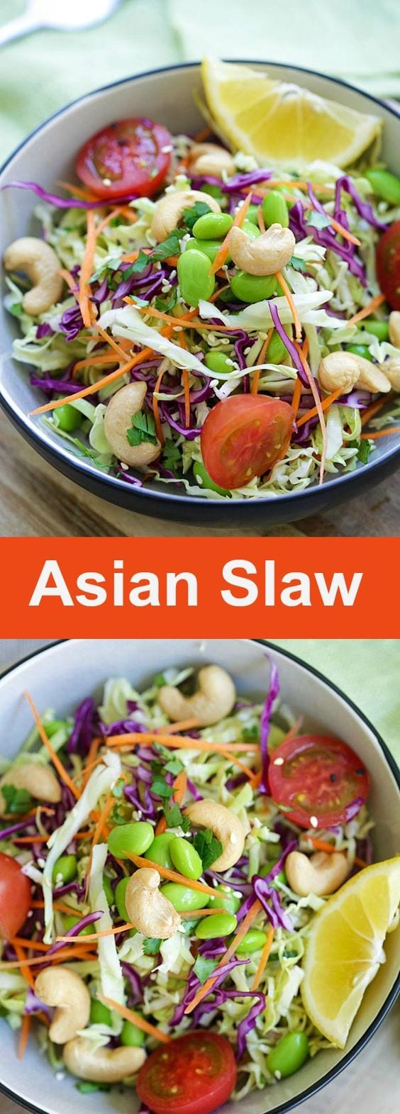 Asian Slaw - delicious Asian slaw recipe with soy sesame dressing. It's easy, low calories and refreshing. Healthy salad for the entire family | rasamalaysia.com