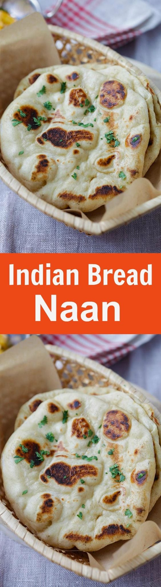 Naan - easy homemade naan recipe using a cast-iron skillet. Soft, puffy, with beautiful brown blisters just like Indian restaurants | rasamalaysia.com
