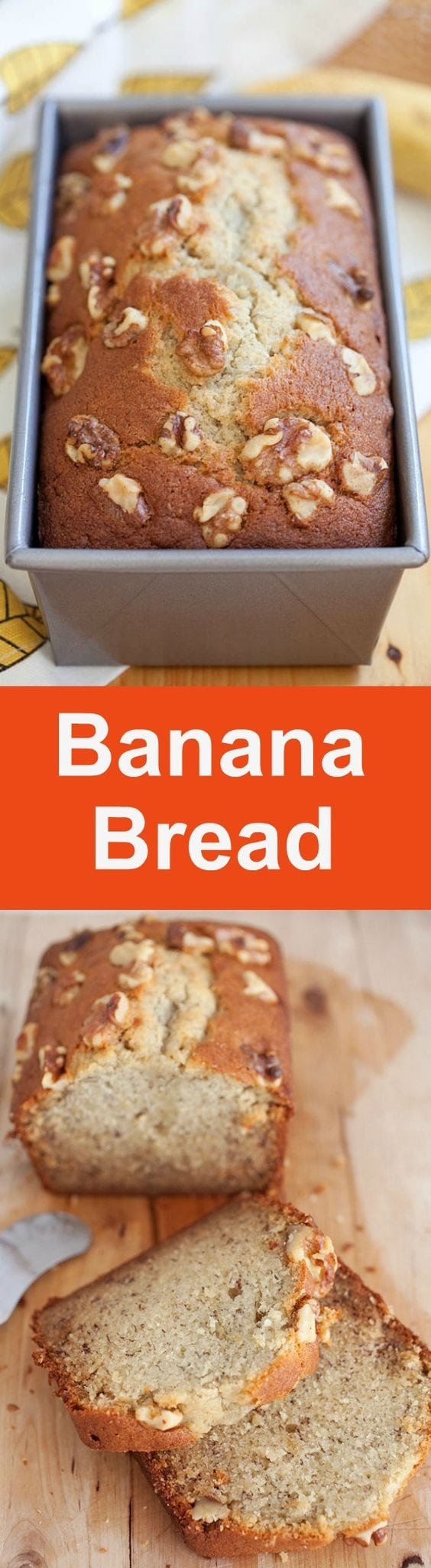 Banana bread – best homemade banana bread recipe ever! Moist, buttery, aromatic and packed with bananas and topped with walnuts | rasamalaysia.com