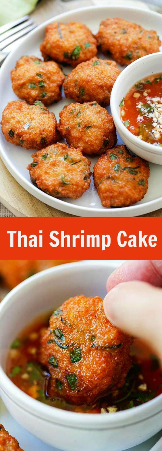 Thai Shrimp Cake - best Thai shrimp cake recipe loaded with shrimp, red curry, long beans and served with sweet chili sauce. So good | rasamalaysia.com
