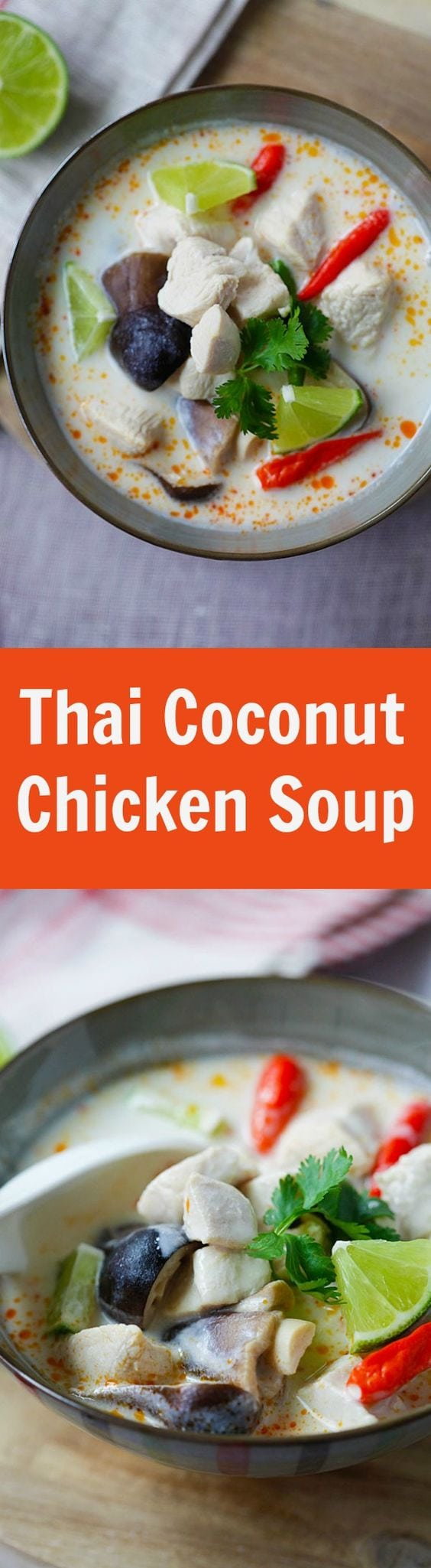 Tom Kha Gai hai - BEST and EASIEST recipe for Thai coconut chicken soup with chicken, mushroom and coconut milk. 20 mins and better than restauarant's | rasamalaysia.com