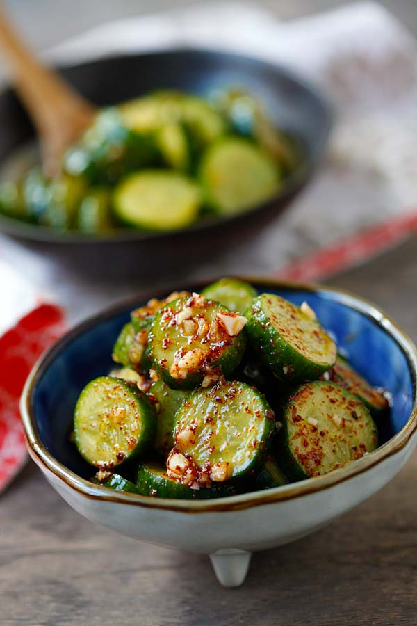Homemade healthy cucumber salad with Asian spices.