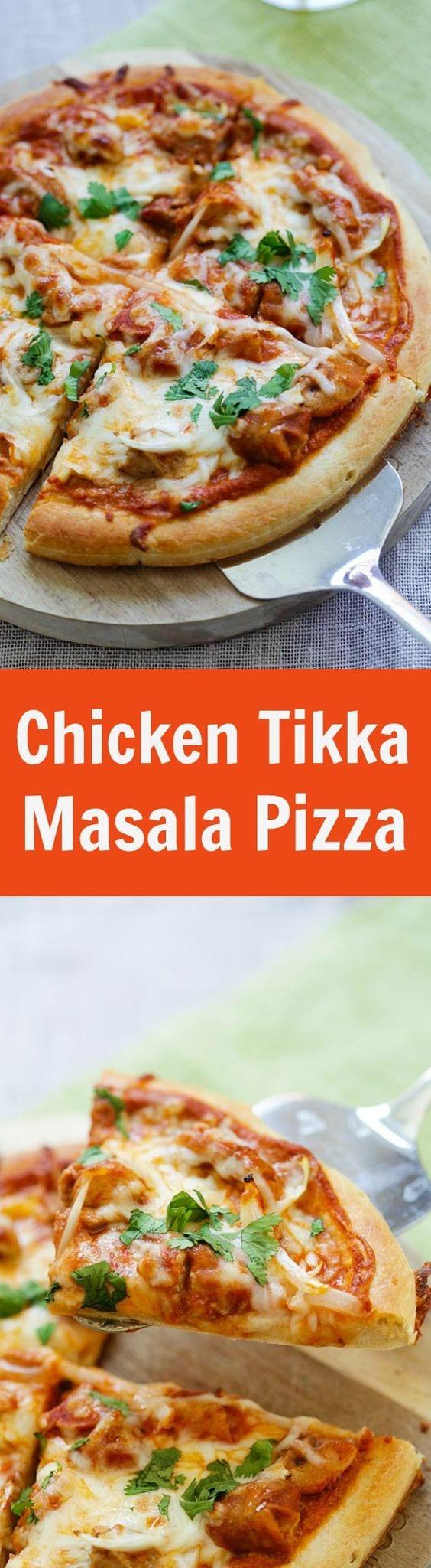 Chicken tikka masala pizza easy delicious recipes chicken tikka masala pizza cheesy pizza topped with delicious indian chicken tikka masala the forumfinder Image collections