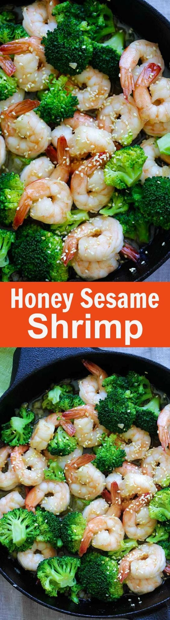 Honey Sesame Shrimp – easy and healthy shrimp stir-fry with broccoli in honey sesame sauce. Takes only 15 minutes to make | rasamalaysia.com