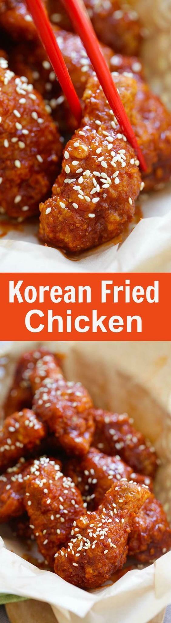 Korean Fried Chicken – the BEST Korean fried chicken recipe that yields crispy fried chicken in spicy, savory and sweet sauce. Finger lickin' good! | rasamalaysia.com