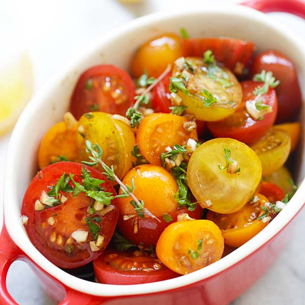 Marinated Tomatoes – healthy tomatoes marinated with olive oil, balsamic vinegar and herbs | rasamalaysia.com