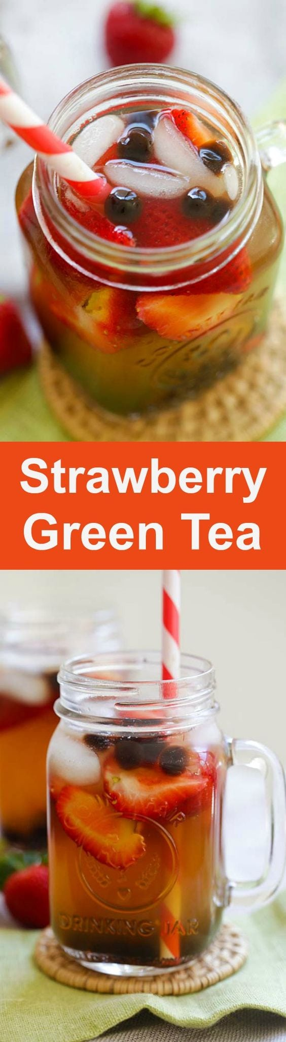 Strawberry Green Tea - healthy and refreshing green tea with strawberry and tapioca pearl boba. Perfect for summer | rasamalaysia.com