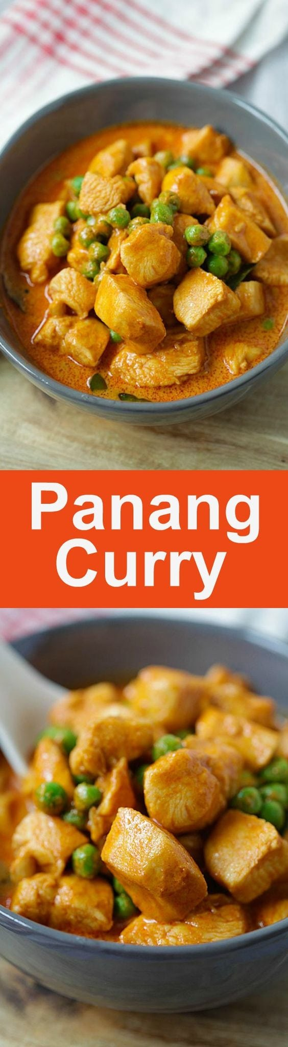 Panang Curry - Thai Panang curry with chicken and green peas. Easy 20-minutes homemade Panang curry recipe that is better than restaurants | rasamalaysia.com