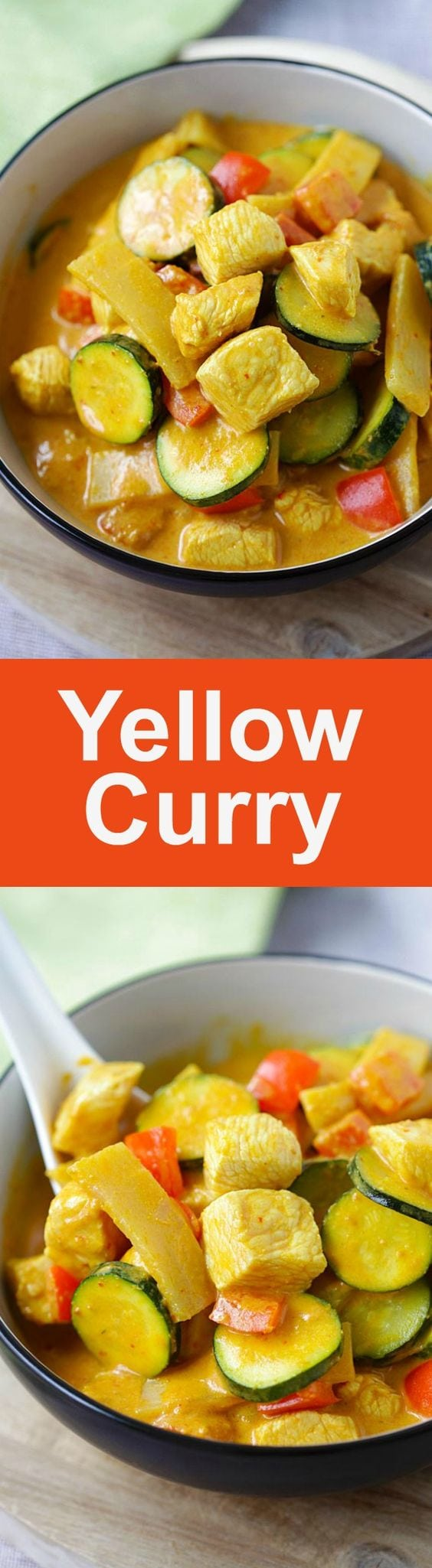 Thai Yellow Curry – creamy yellow curry recipe loaded with chicken, zucchini and bell peppers. So easy and much better than takeouts | rasamalaysia.com