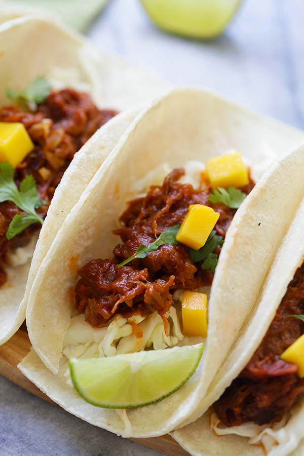Mexican pulled beef brisket mango taco.