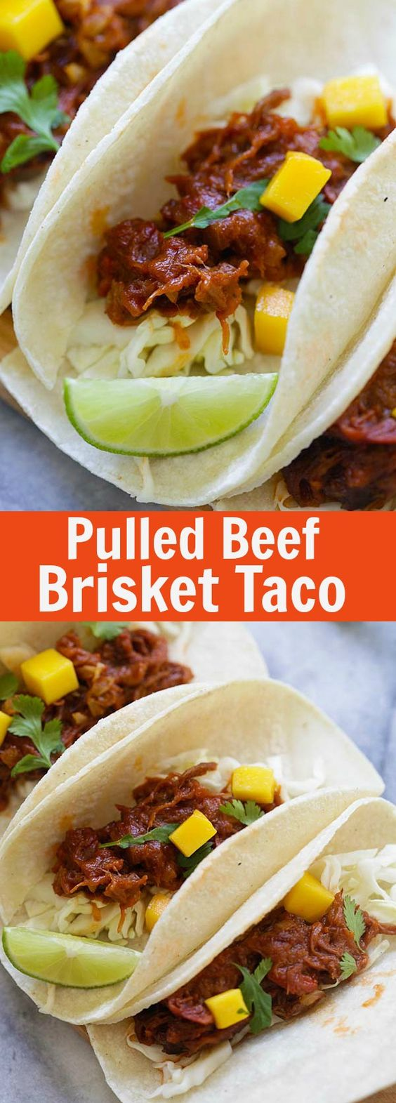 Pulled Beef Brisket Taco - the easiest homemade beef brisket taco with mango. These tacos come together in 20 minutes, so delicious | rasamalaysia.com