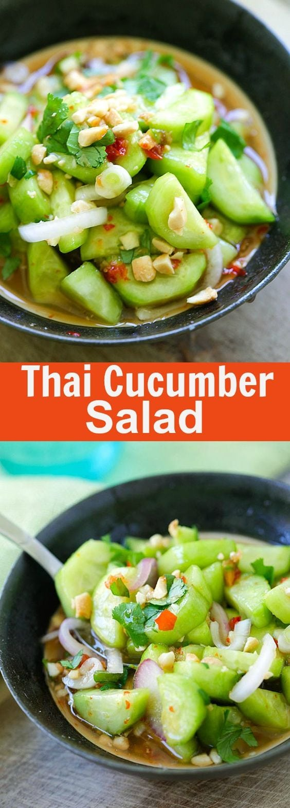Thai Cucumber Salad - easiest and best homemade Thai cucumber salad recipe that is better than your favorite Thai restaurants, guaranteed | rasamalaysia.com