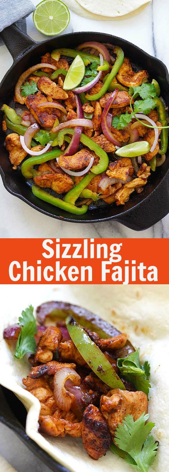Chicken Fajita cooked in a sizzling cast-iron skillet. This Mexican favorite is so easy with homemade Fajita seasoning. Serve the juicy chicken with warm tortilla for a complete meal | rasamalaysia.com