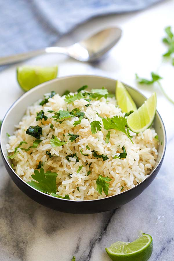 Cilantro lime rice in a bowl.