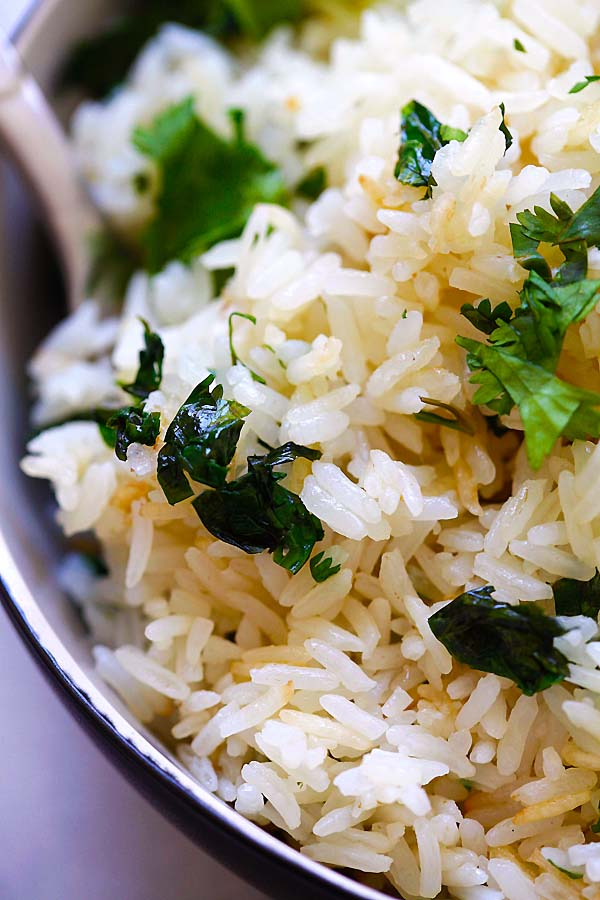 Close up view of Cilantro Lime Rice.