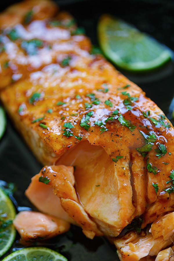 Pan fry honey lime salmon ready to serve.