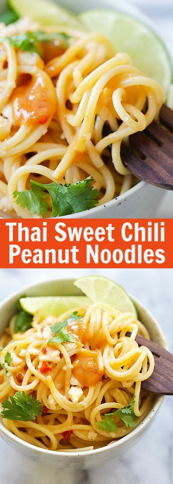 Thai Sweet Chili Peanut Noodles – quick noodles with a creamy and spicy Thai peanut sauce. Four ingredients and 15 minutes to make | rasamalaysia.com