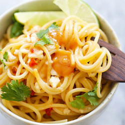 thai sweet chili peanut noodles