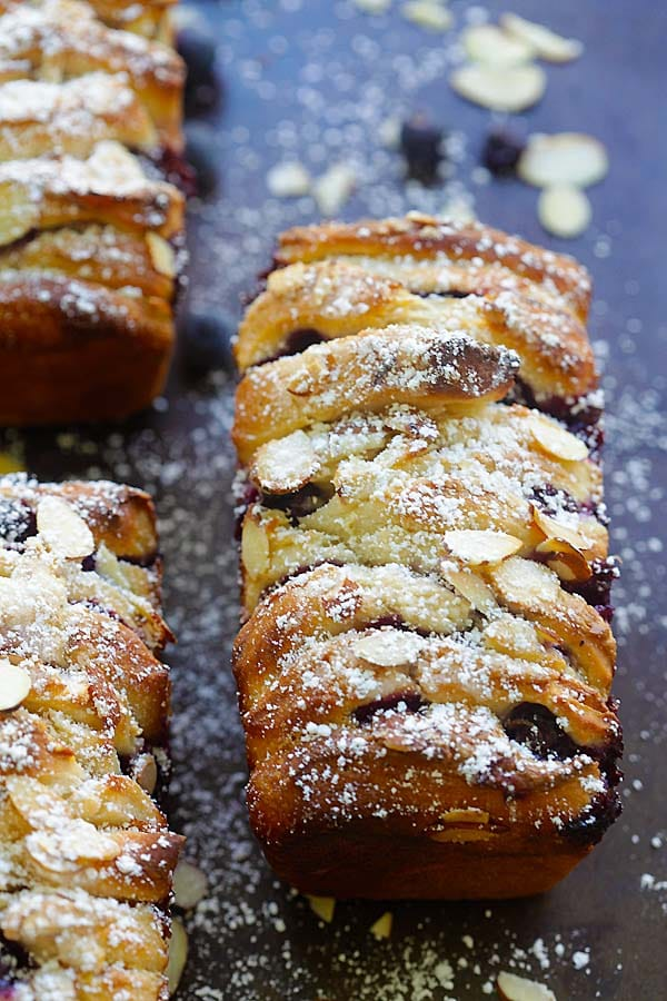 Loafs of homemade blueberry-cream cheese pull-apart bread.