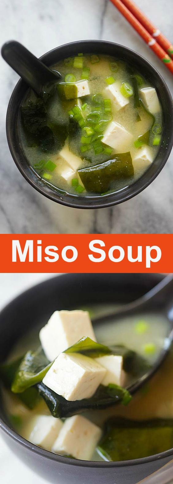 Miso Soup - Japanese soup made with healthy miso paste, tofu, seaweed and dashi broth. This homemade miso soup recipe is authentic, easy and tastes better than restaurants | rasamalaysia.com