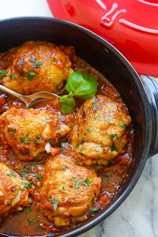 Italian Braised Chicken | Easy Delicious Recipes
