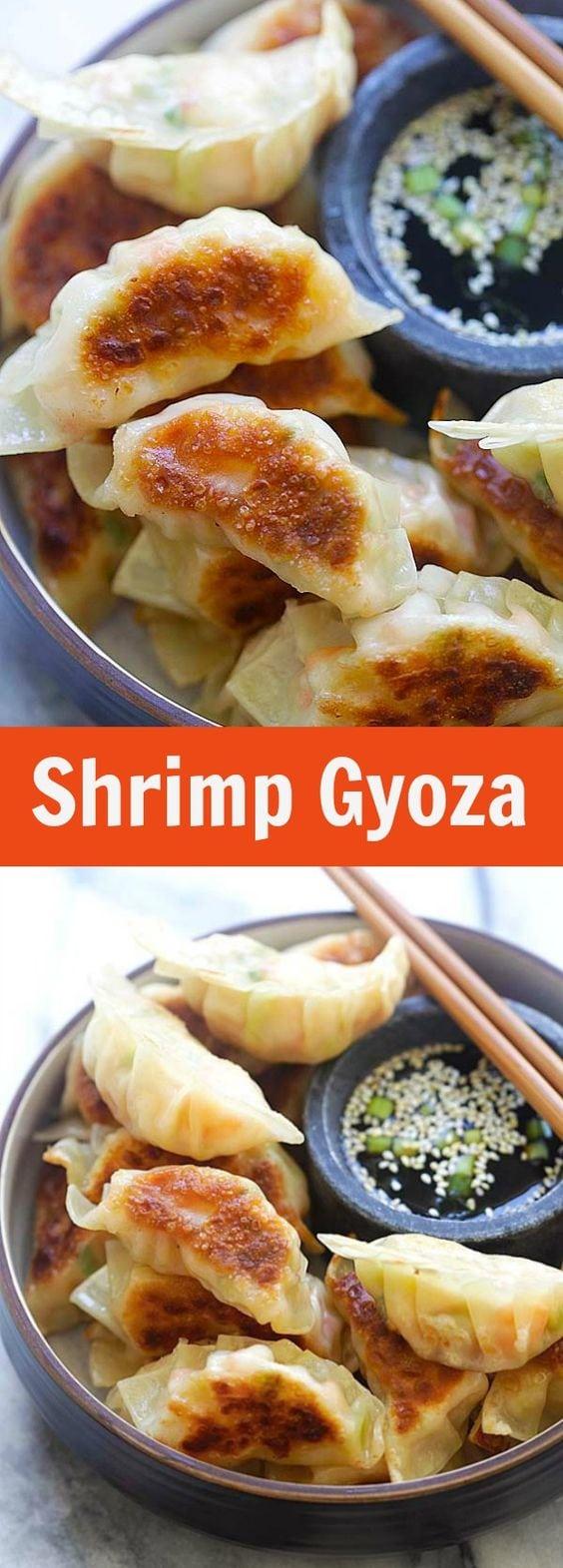 Shrimp Gyoza - amazing Japanese gyoza dumplings filled with shrimp and cabbage. Crispy, juicy and so easy to make at home. | rasamalaysia.com
