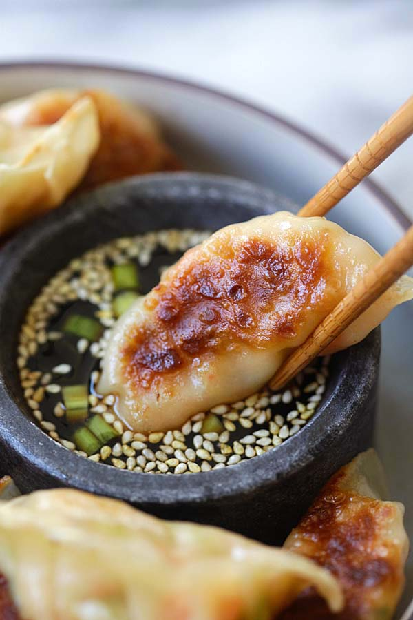 Shrimp Gyoza - amazing Japanese gyoza dumplings filled with shrimp and cabbage. Crispy, juicy and so easy to make at home | rasamalaysia.com