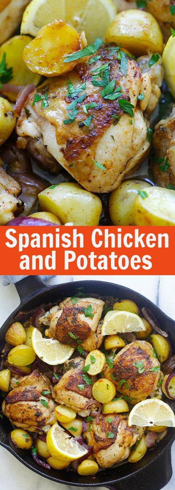Spanish Chicken and Potatoes - crazy delicious one-pot Spanish chicken and potatoes bake with onions, garlic, and paprika. So good! | rasamalaysia.com