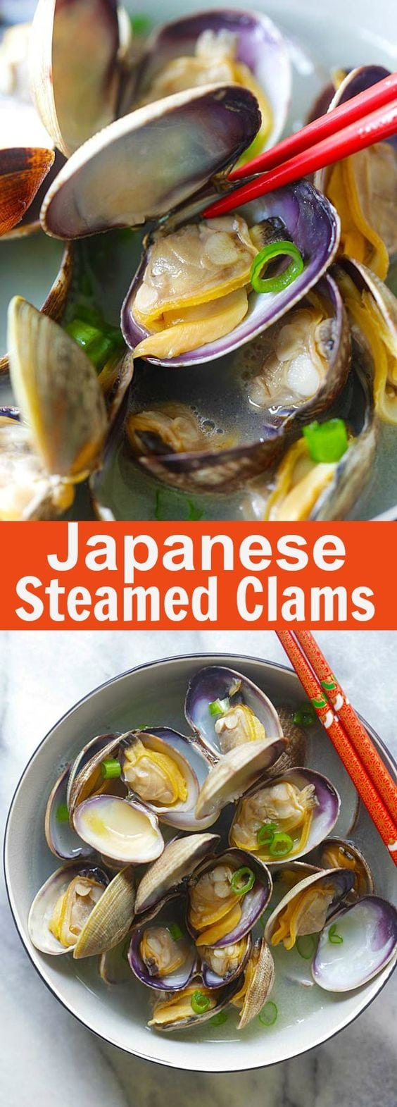 Japanese Steamed Clams - Manila (Asari) clams with butter, Japanese sake and mirin. Briny, delicious and takes only 10 mins | rasamalaysia.com