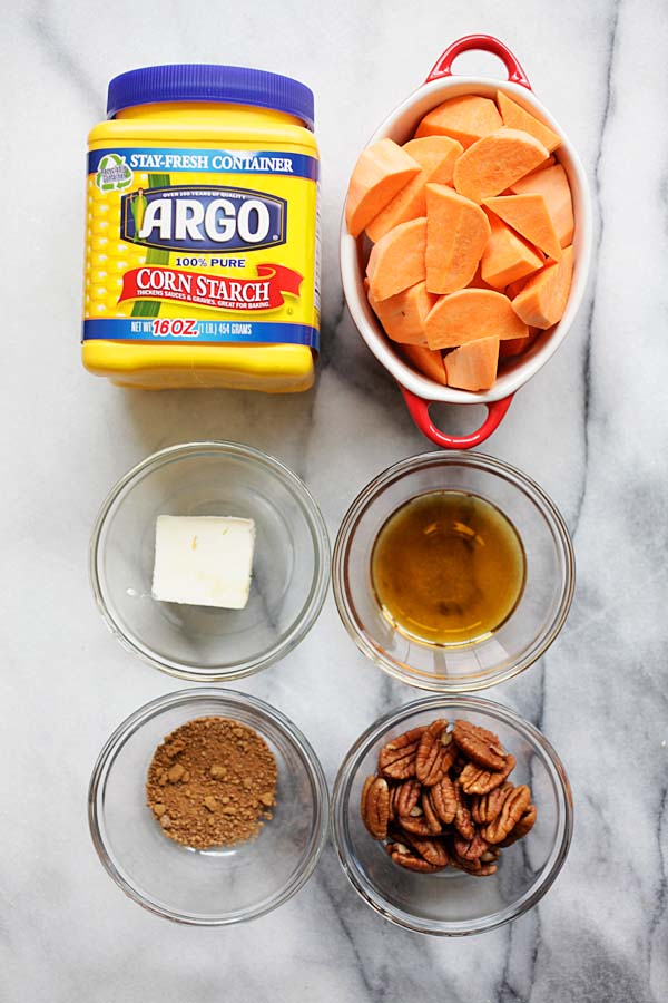 Maple Glazed Sweet Potatoes with Pecan ingredients that consists of chopped sweet potatoes, Argo corn starch, unsalted butter, brown sugar, maple syrup and pecan.