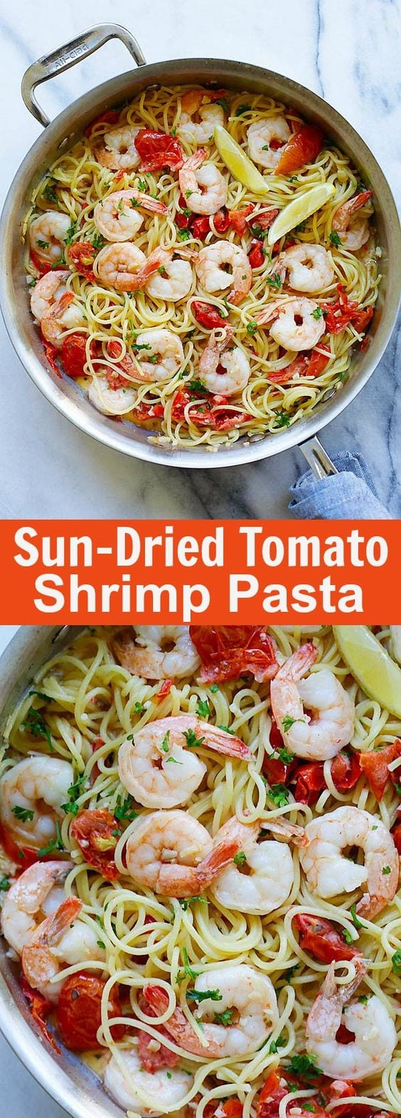Creamy Shrimp and Sun-Dried Tomatoes Pasta – the best pasta recipe ever! Shrimp, sun-dried tomatoes and spaghetti in creamy sauce. So good | rasamalaysia.com