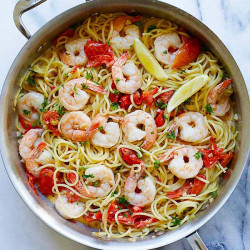 creamy shrimp and sun-dried tomatoes pasta