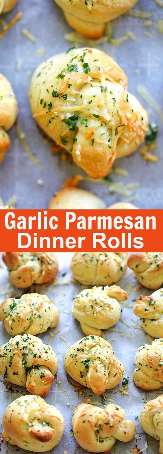Homemade garlic Parmesan dinner rolls are the best dinner rolls ever. This recipe is so easy with cotton soft rolls topped with garlic and Parmesan cheese. So good | rasamalaysia.com